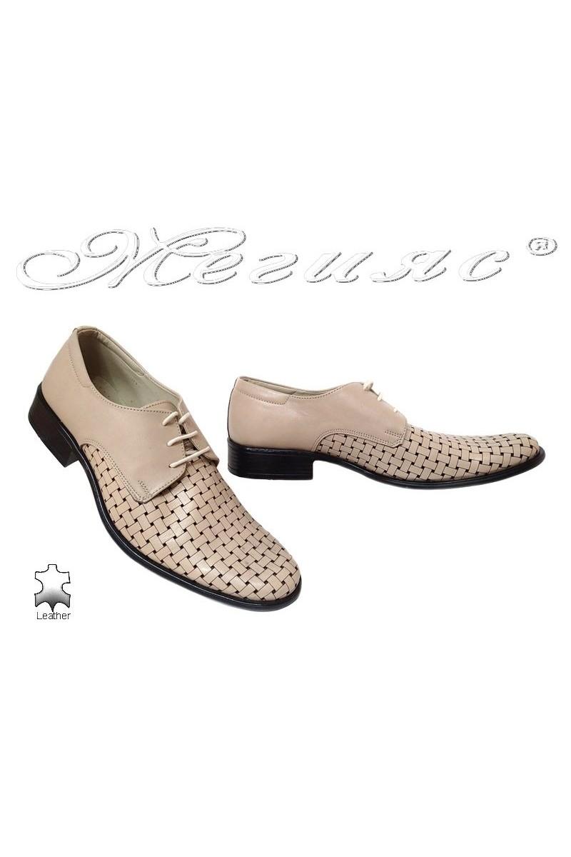 Men formal shoes FANTASIA 013 beige leather