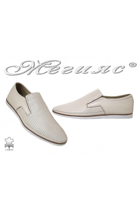 Men casual shoes 026-010 beige leather perforation
