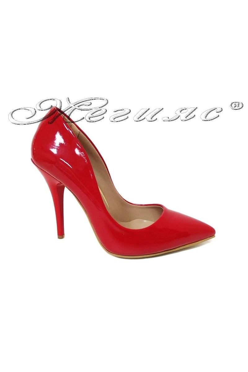 Дамски обувки 1800 червени лак елегантни остри висок ток