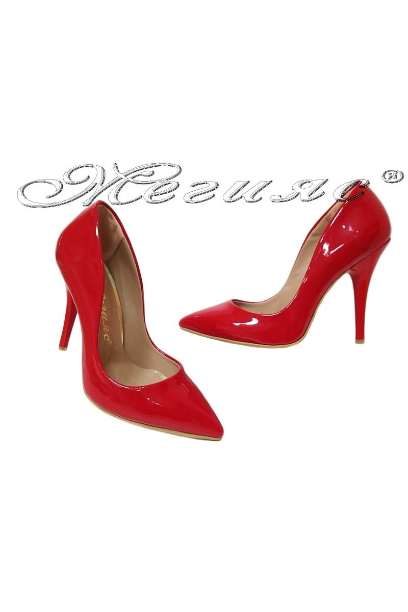 Women elegant shoes 1800 high heel red patent