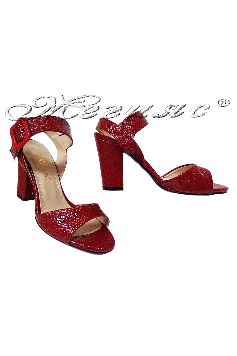 Ladies elegant sandalas 146 red pu middle heel