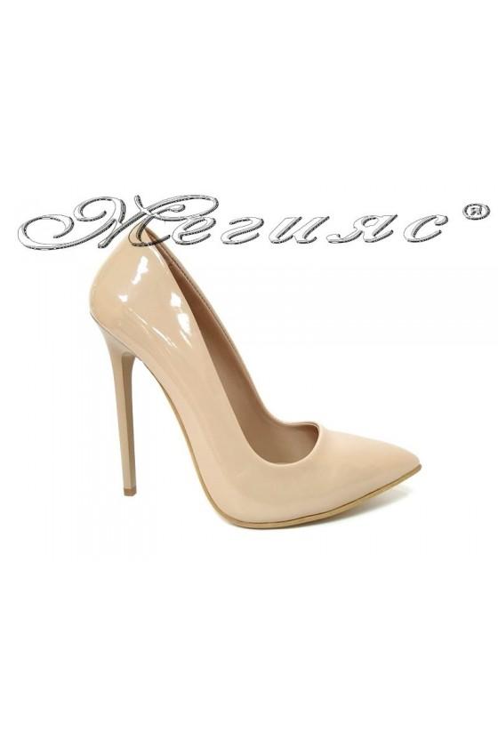 Women elegant shoes 301 beige patent high heel