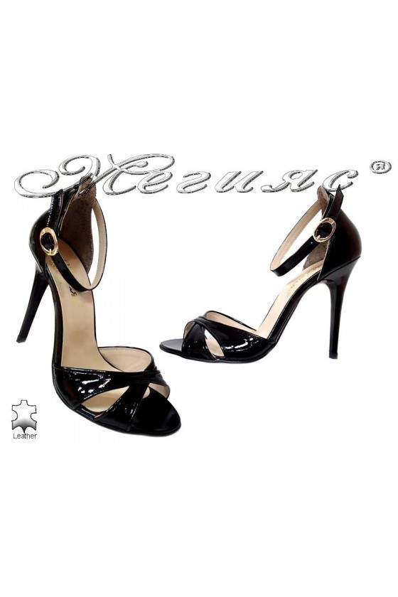 Women elegant sandals high heel 251 black leather