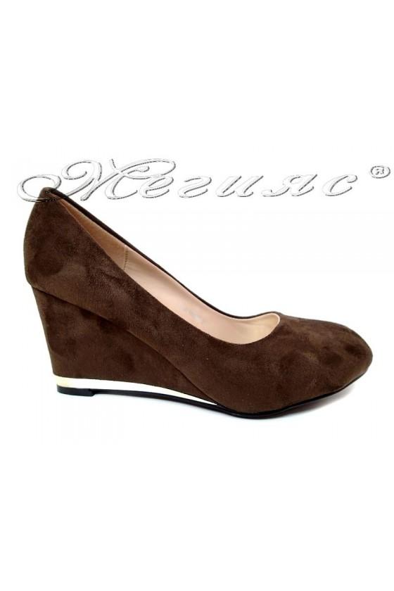 Дамски обувки LINDA 155407-изчистени кафяви платформа елегантни велур