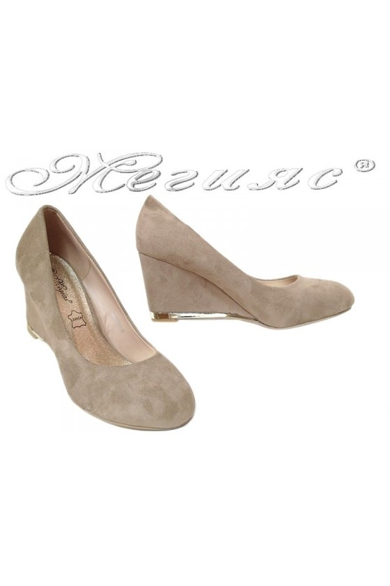 Women platform shoes 155407 beige suede