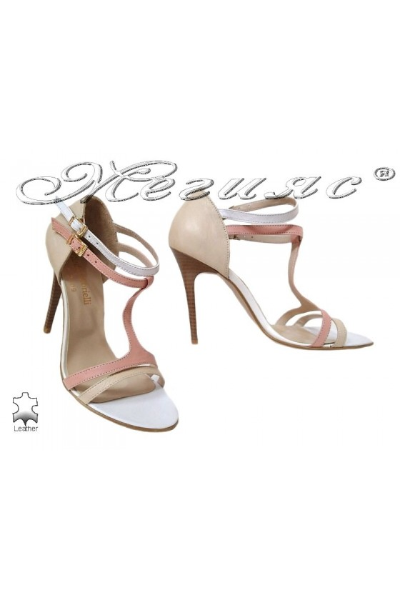 Women elegant sandals high heel 247 beige+pudra leather