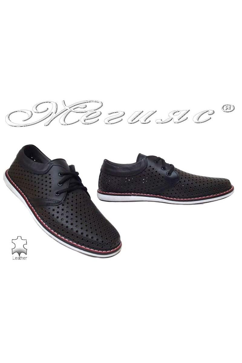 Мъжки обувки 348 черни ежедневни естествена кожа