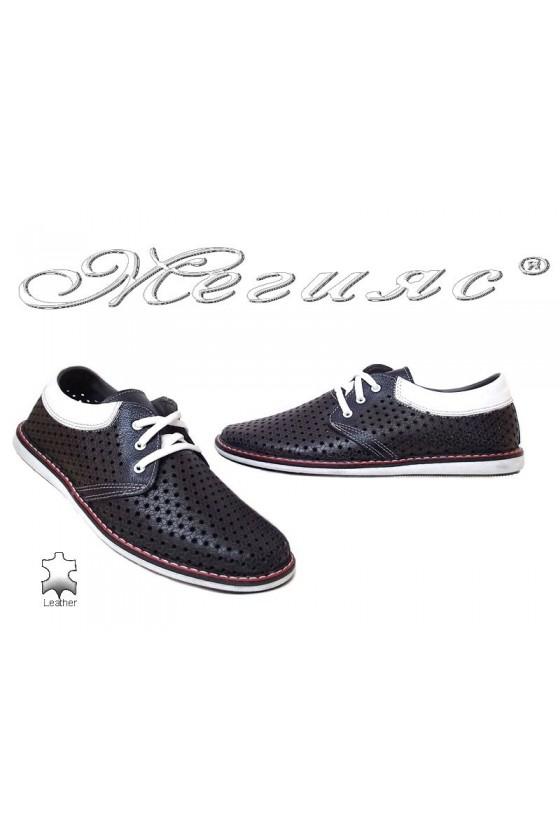 Мъжки обувки 348 тъмно сини ежедневни естествена кожа