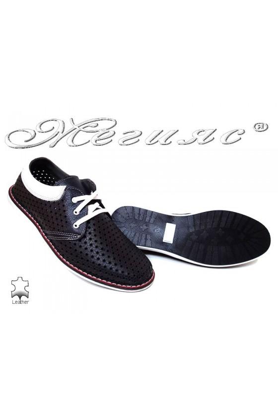 Men shoes 348 dark blue  leather