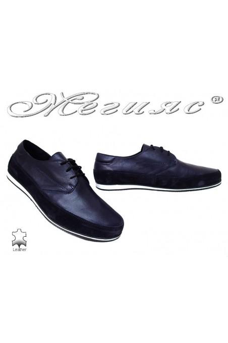 Мъжки обувки 1793 тъмно сини ежедневни естествена кожа