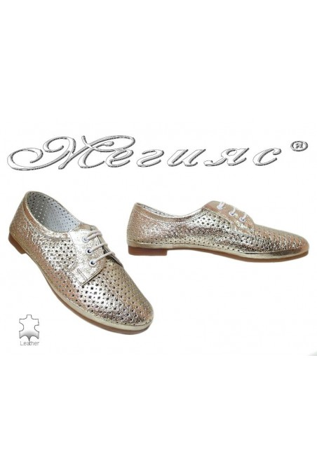 Lady sport shoes 01 gold leather