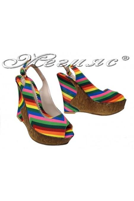 Дамски сандали 1967 шарени текстил висока платформа еко кожа