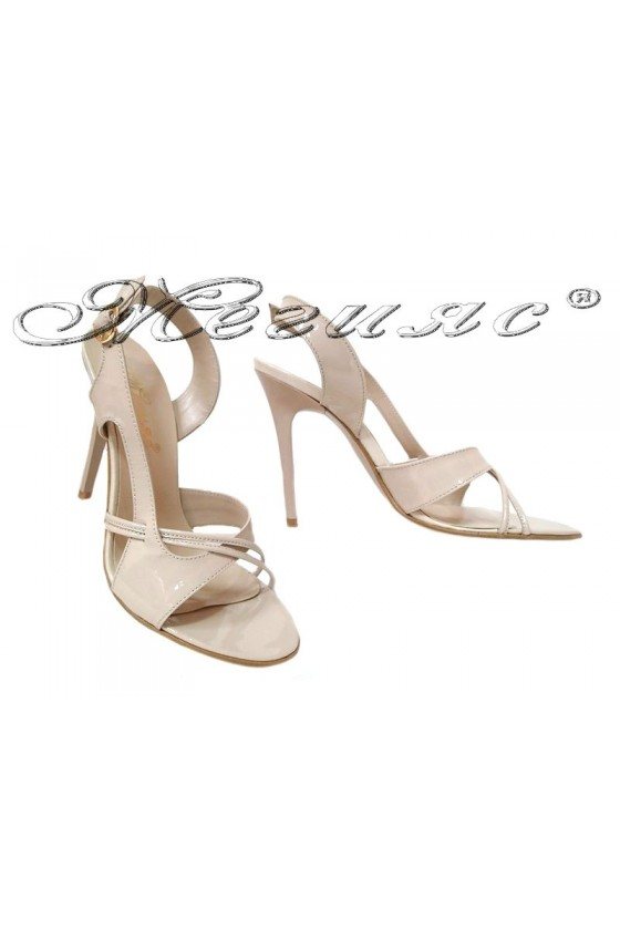 Women elegant sandals 246 high heel beige patent