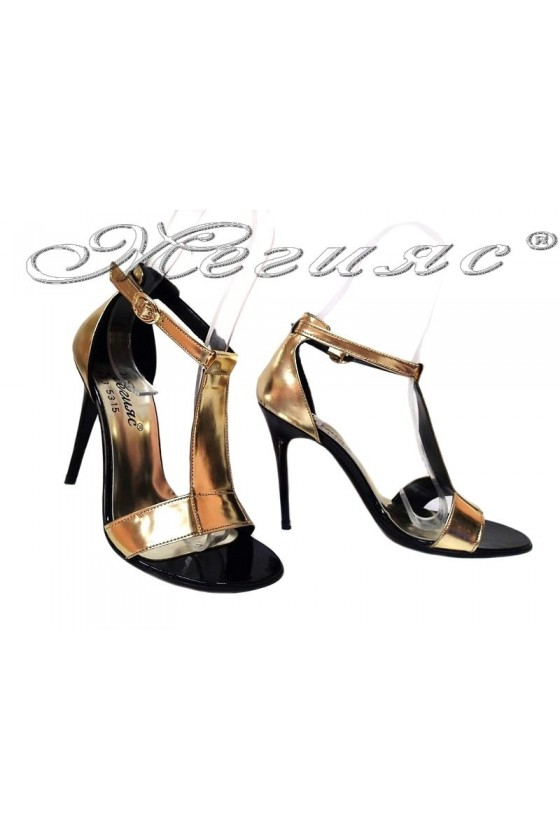 Women elegant sandlas high heel 253 gold pu