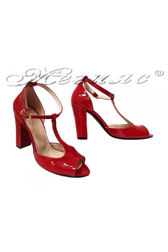 Lady elegant sandals 007 red lak pattent