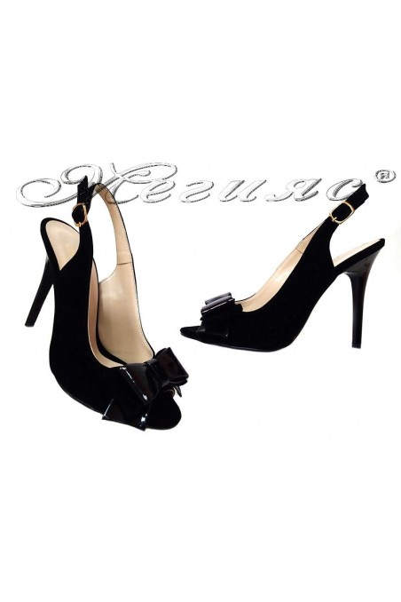 Ladu elegant sandals 226 black nubuck+pattent