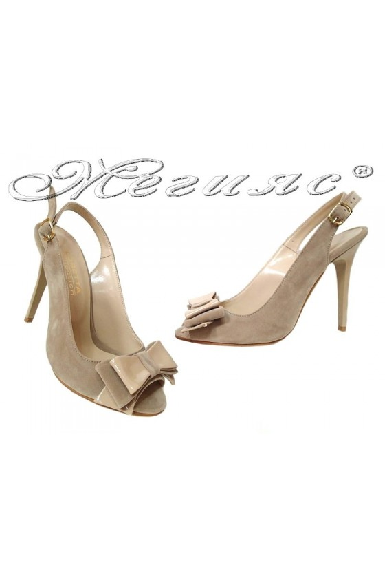 Lady elegant sandals high heel 226 beige suede