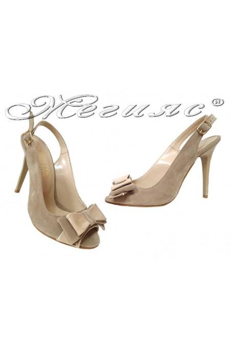 Lady elegant sandals high heel 226 beige suede