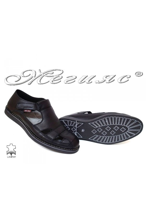 Men sandals 401 black leather