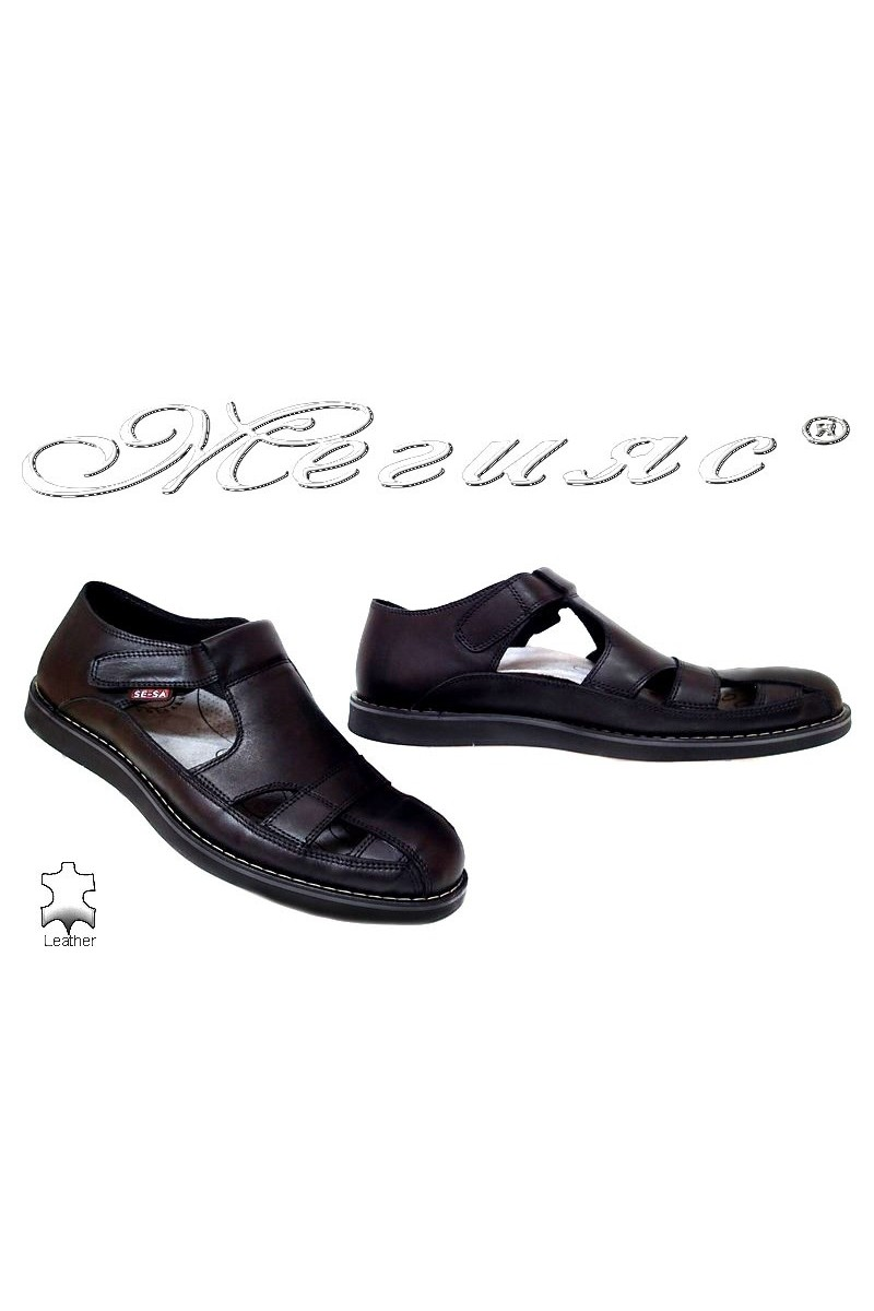 Men sandals 401 black leather