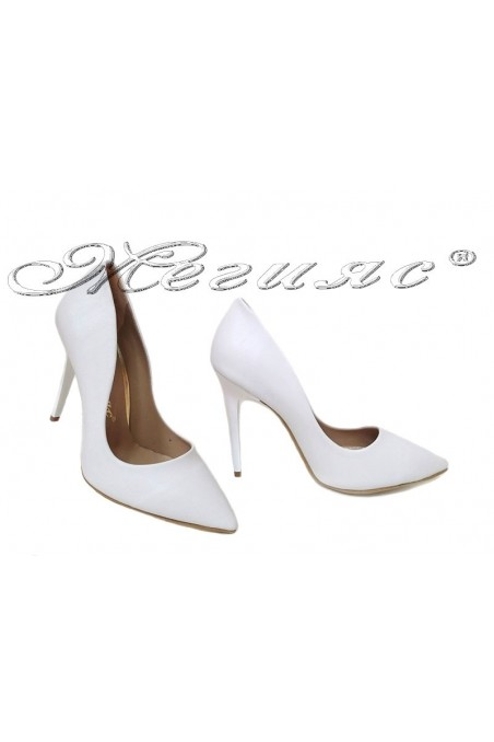 Lady elegant shoes 1800 white high heel pu