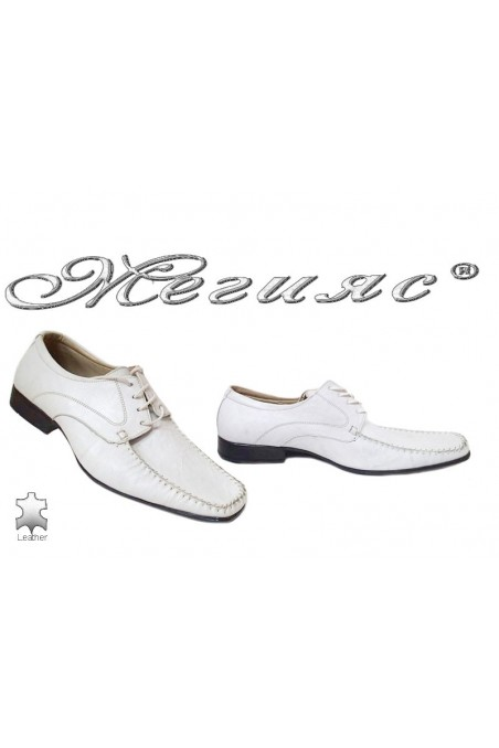 Men elegant shoes 211 white leather
