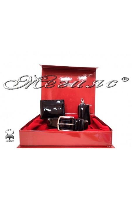 Men belt + wallet + key chain black patent leather