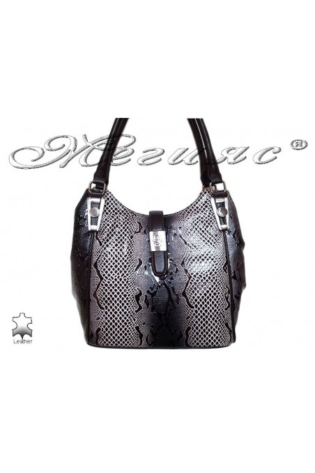 Чанта 4202 черно+бяло змия естествена кожа