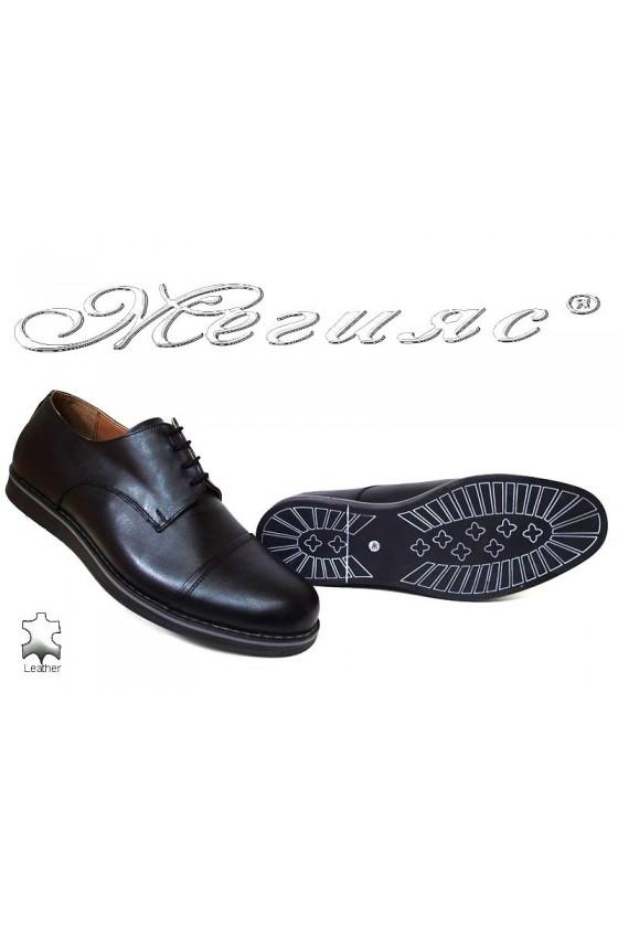 Мъжки обувки XXL В402 черни ежедневни гигант естествена кожа