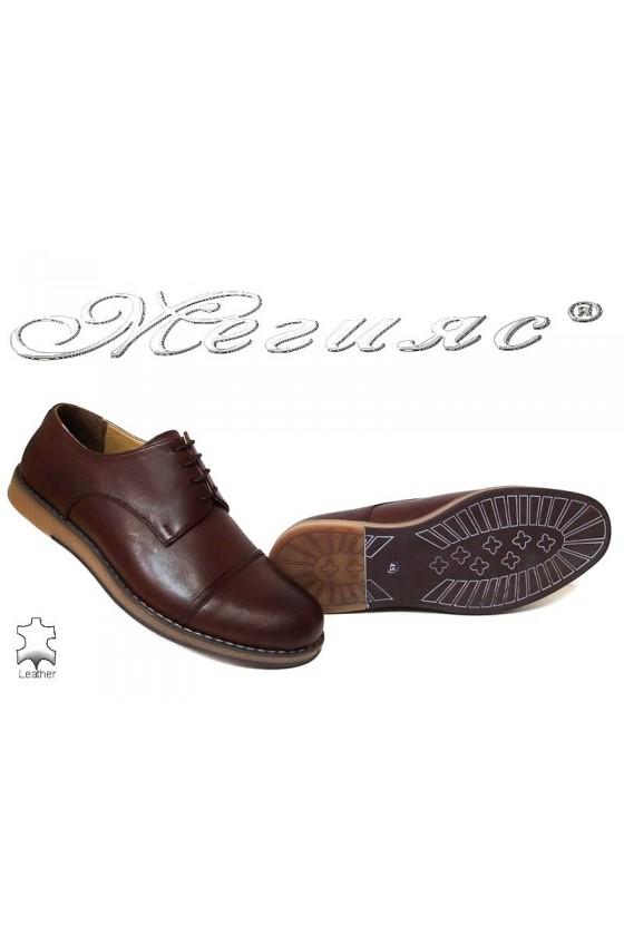 Мъжки обувки големи номера кафяви  ежедневни гигант естествена кожа XXL В402