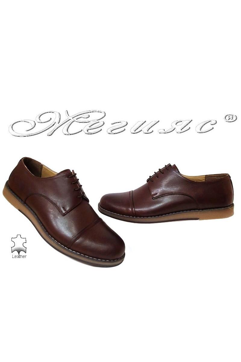 Мъжки обувки големи номера кафяви  ежедневни гигант естествена кожа