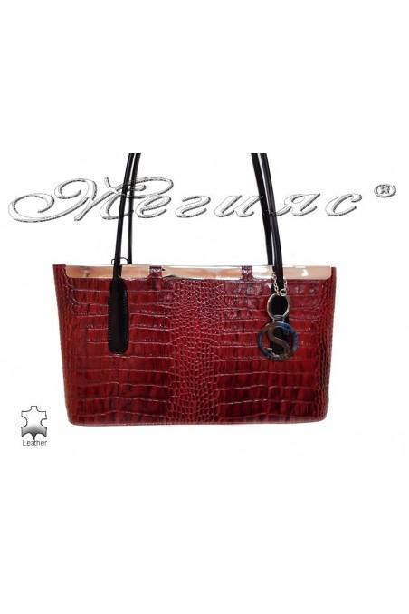Чанта 013 червена естествена кожа-лак
