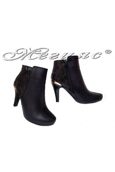 Women elegant ankle boots 116-276 high heel black pu