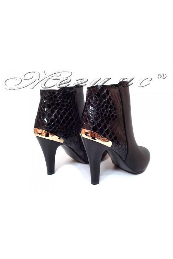 Дамски елегантни боти MICK 116-276 висок ток черна кожа