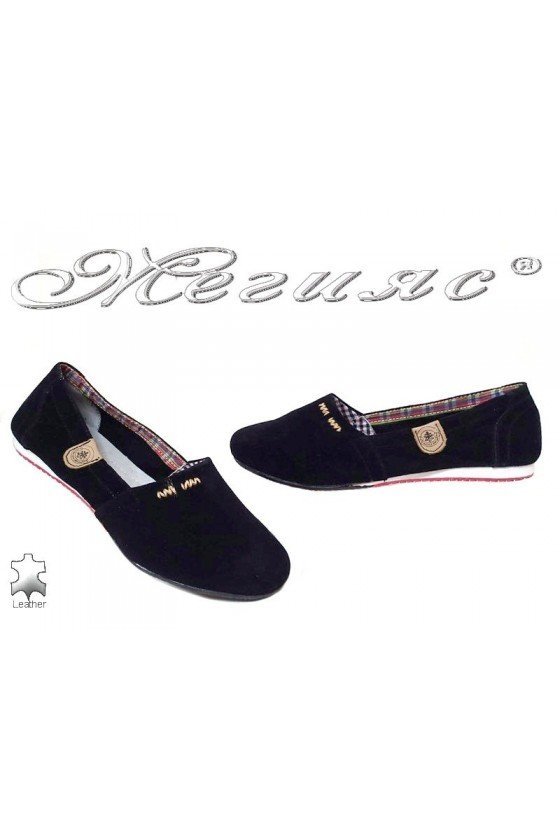 Lady's shoes 1534 black suede leather