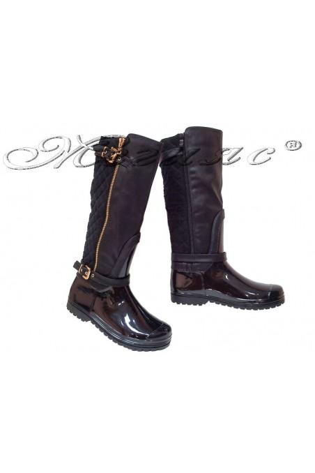 Women casual boots 13-441-8 black gum