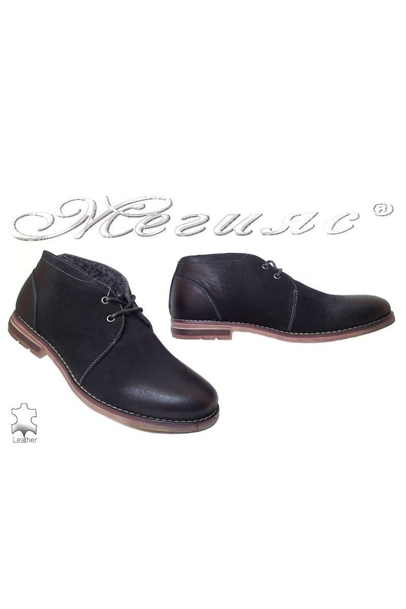 Мъжки обувки JESS 116-013 черни ежедневни естествен набук