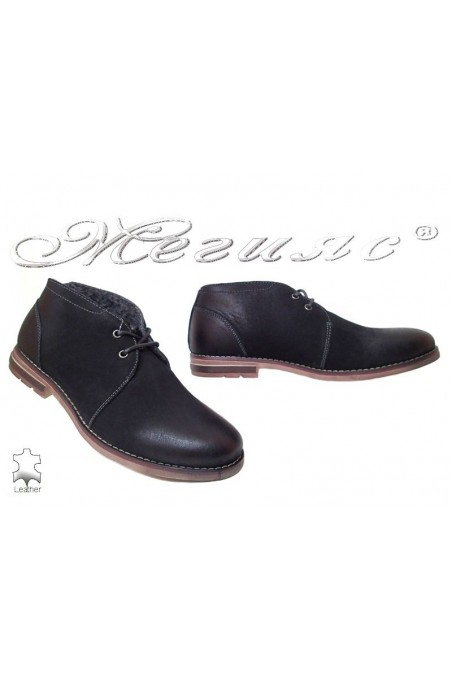 Man's shoes Jess 116-013 black suede leather
