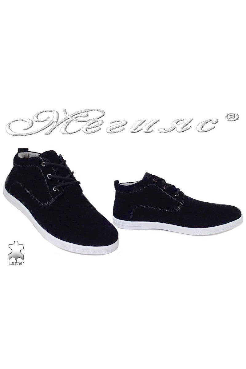 Man's shoes Jess 116-018 black suede leather