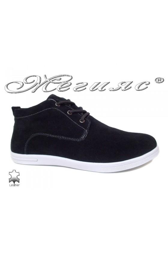 Man's shoes Jess 116-018 black suede leather
