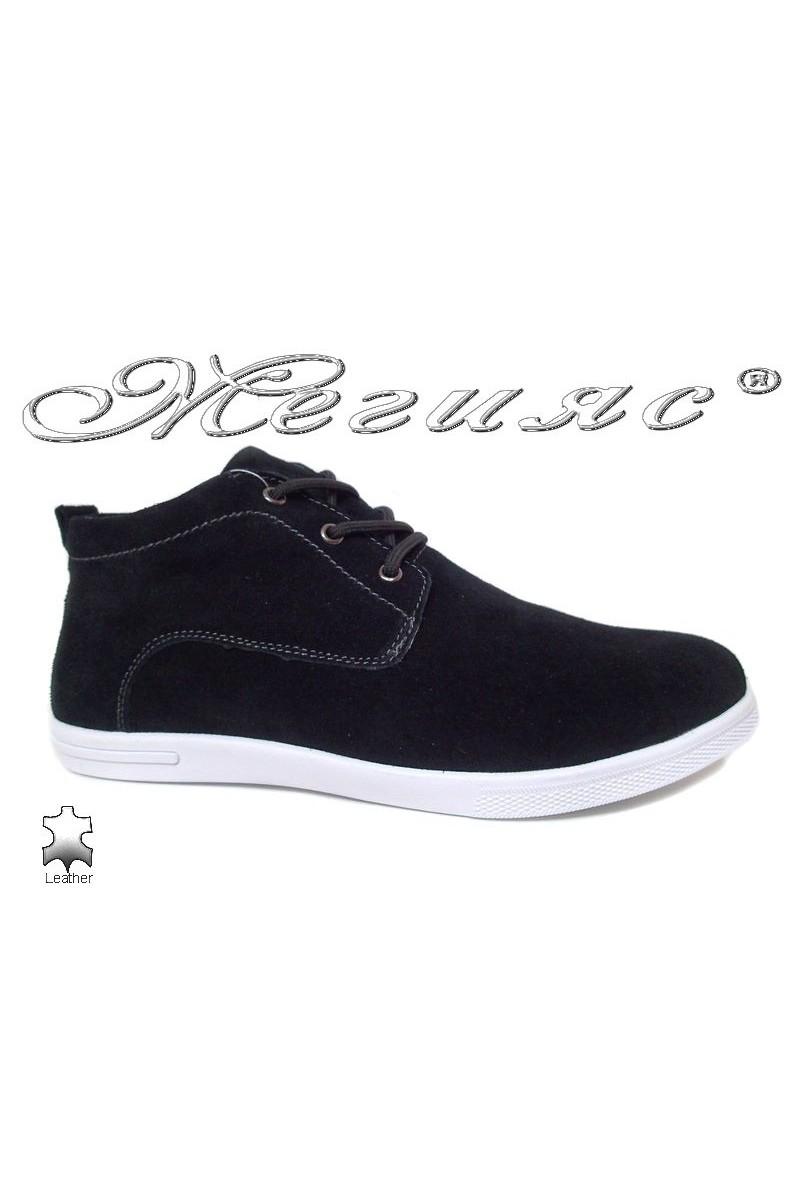 Мъжки обувки JESS 116-018 черни ежедневни естествен набук