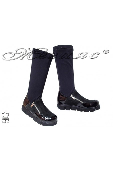 Women casual boots 1674 black suede leather