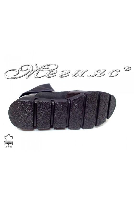 Дамски ботуши 1674 ежедневни спортни черни естествен велур+лак