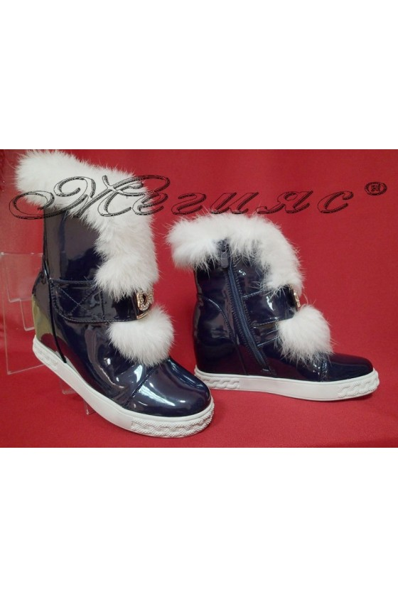 Women boots 116-148 dark blue patent