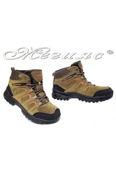 Man's boots 51358 khaki+orange suede pu