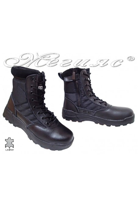 Man's boots SWAT black leather