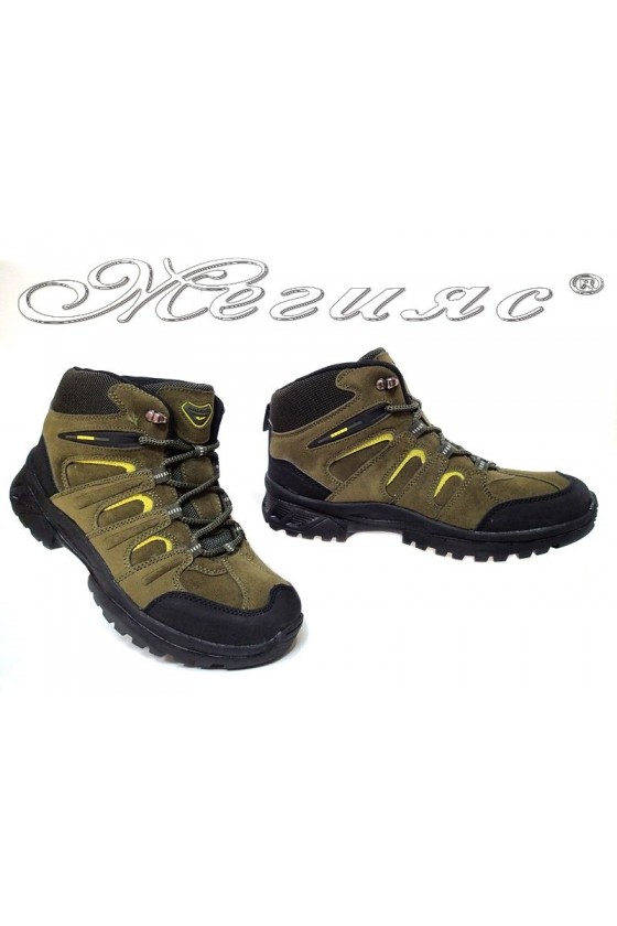 Man's boots 51358 khaki+green suede pu