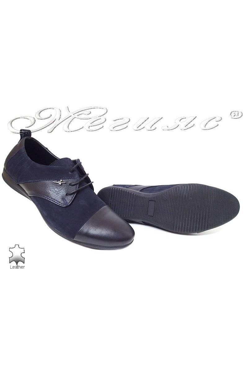 Men shoes Trend 0426 blue  leather