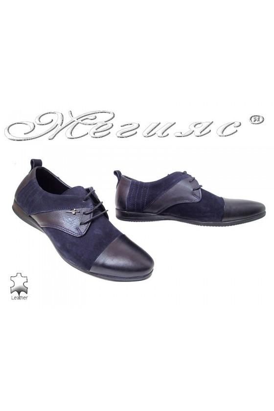 Мъжки обувки Тренд 0426 сини естествена кожа+ набук