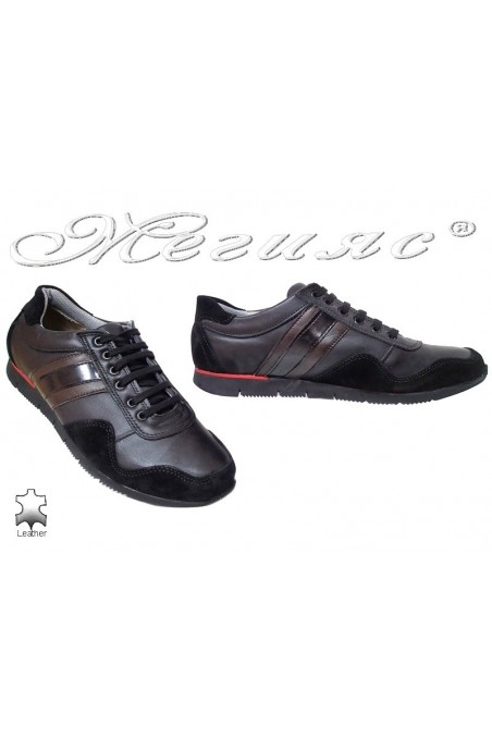 Men sport shoes TREGER 508-92 black leather+suede
